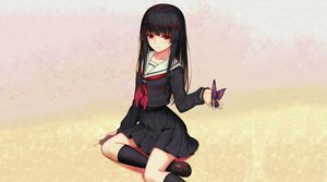Rating: Safe Score: 121 Tags: black_hair butterfly doll enma_ai jigoku_shoujo kneehighs long_hair red_eyes school_uniform skirt third-party_edit User: legendofhell