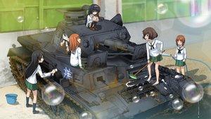 Rating: Safe Score: 65 Tags: akiyama_yukari bubbles combat_vehicle excel_(shena) girls_und_panzer isuzu_hana nishizumi_miho reizei_mako school_uniform takebe_saori User: FormX
