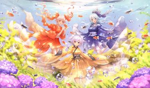 Rating: Safe Score: 29 Tags: animal aqua_eyes aqua_hair barefoot bubbles catbell fish flowers japanese_clothes long_hair orange_eyes original pink_hair purple_eyes short_hair twintails underwater water User: RyuZU