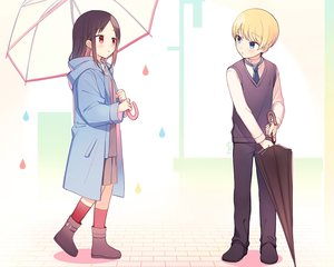 Rating: Safe Score: 28 Tags: aliasing black_hair blonde_hair blue_eyes boots cropped hoodie juugonichi_(wheeliex2) kaguya-sama_wa_kokurasetai_~tensai-tachi_no_renai_zunousen~ loli male red_eyes shinomiya_kaguya shirogane_miyuki short_hair skirt socks tie umbrella User: mattiasc02