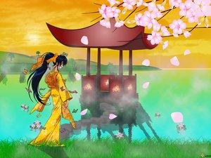 Rating: Safe Score: 12 Tags: butterfly flowers japanese_clothes kamiya_kaoru petals rurouni_kenshin water User: Nocyta