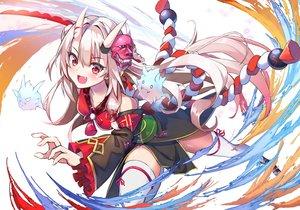 Rating: Safe Score: 60 Tags: agibe demon hololive horns japanese_clothes katana long_hair magic nakiri_ayame rope sword thighhighs weapon zettai_ryouiki User: BattlequeenYume