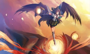 Rating: Safe Score: 97 Tags: black_hair clear_echoes long_hair reiuji_utsuho touhou weapon wings User: SciFi