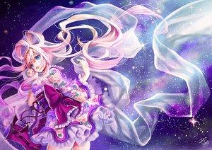 Rating: Safe Score: 118 Tags: aqua_eyes japanese_clothes lolita_fashion long_hair okuma_mai original pink_hair signed sky space stars yukata User: opai