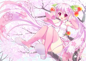 Rating: Safe Score: 105 Tags: ameto_yuki cherry_blossoms hatsune_miku long_hair petals pink_eyes pink_hair sakura_miku thighhighs tree twintails vocaloid User: opai