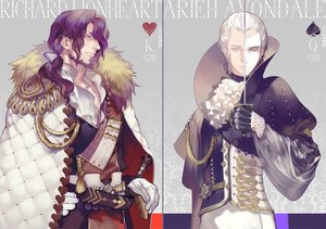 Rating: Safe Score: 20 Tags: all_male cape collar fate_(series) glasses gloves long_hair male mask original ponytail purple_hair short_hair sword tagme_(artist) weapon white_hair User: otaku_emmy