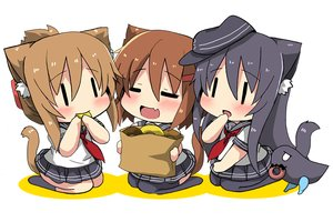 Rating: Safe Score: 30 Tags: akatsuki_(kancolle) animal_ears anthropomorphism black_eyes black_hair blush brown_hair catgirl chibi fang food hat ikazuchi_(kancolle) inazuma_(kancolle) kantai_collection kneehighs long_hair oshiruko_(uminekotei) pantyhose school_uniform short_hair skirt tail thighhighs waifu2x User: otaku_emmy
