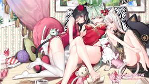 Rating: Safe Score: 122 Tags: animal animal_ears bell bicolored_eyes black_hair brown_eyes cake cat chinese_clothes chinese_dress dress drink flowers food fruit green_eyes green_hair ia_(ias1010) long_hair original red_eyes strawberry tail teddy_bear thighhighs watermark white_hair User: BattlequeenYume