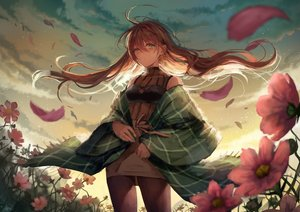 Rating: Safe Score: 59 Tags: autumn blue_eyes brown_hair clouds flowers grass long_hair original pantyhose sky sunset tamarashi User: BattlequeenYume