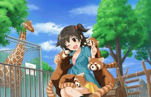 Rating: Safe Score: 7 Tags: akagi_miria animal black_hair brown_eyes clouds idolmaster idolmaster_cinderella_girls idolmaster_cinderella_girls_starlight_stage kneehighs loli park short_hair skirt sky tagme_(artist) tree twintails wink User: RyuZU