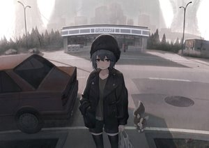Rating: Safe Score: 100 Tags: animal anzi building car city dog gray_hair hat pink_eyes shima_rin short_hair shorts thighhighs tree yuru_camp User: BattlequeenYume