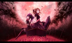 Rating: Safe Score: 171 Tags: 2girls akkijin cross flowers goth-loli moon petals rose tagme User: opai