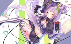Rating: Safe Score: 63 Tags: blush game_console gloves hat hayataku1234 hololive long_hair murasaki_shion navel purple_hair skirt thighhighs yellow_eyes User: BattlequeenYume