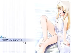 Rating: Safe Score: 22 Tags: blonde_hair blue_eyes blush dress natunomori_towa ooji te_no_hira_wo_taiyou_ni watermark white wink User: Oyashiro-sama