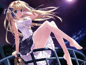 Rating: Safe Score: 707 Tags: asaba_yuu barefoot blonde_hair dress feng game_cg hoshizora_e_kakaru_hashi hoshizora_e_kakaru_hashi_aa long_hair nanamori_seira night panties sky stars underwear User: Wiresetc