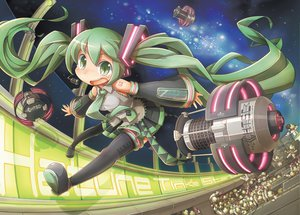 Rating: Safe Score: 68 Tags: aqua_eyes aqua_hair green_hair gunjima_souichirou hatsune_miku long_hair space thighhighs twintails vocaloid User: opai