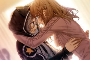 Rating: Safe Score: 112 Tags: amnesia aqua_eyes brown_hair gray_hair hanamura_mai heroine_(amnesia) hoodie hug male orion_(amnesia) photoshop scan tears User: Dummy