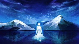 Rating: Safe Score: 74 Tags: blue blue_eyes dress hatsune_miku landscape long_hair monochrome scenic sinomoku08 snow twintails vocaloid water User: Dust