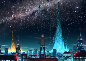 Rating: Safe Score: 183 Tags: brown_hair city izumi_sai landscape night original scenic seifuku short_hair skirt sky stars thighhighs User: opai