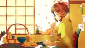 Rating: Safe Score: 33 Tags: aliasing animal autumn brown_hair cat drink flowers food green_eyes headphones japanese_clothes kimono leaves original paper short_hair twin-mix User: RyuZU