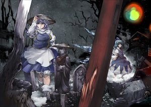 Rating: Safe Score: 50 Tags: 2girls cirno fairy hat letty_whiterock skull snow tomotsuka_haruomi touhou User: FormX