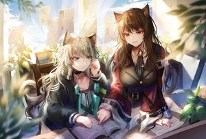 Rating: Safe Score: 32 Tags: 2girls animal_ears aqua_eyes arknights book brown_eyes brown_hair catgirl glasses gray_hair long_hair mint_(arknights) skyfire_(arknights) tail takano_jiyuu User: Nepcoheart
