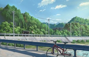 Rating: Safe Score: 69 Tags: bicycle clouds forest jing_(jiunn1985matw) landscape nobody original scenic signed sky stairs tree water User: otaku_emmy