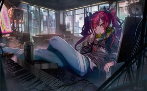 Rating: Safe Score: 58 Tags: building city couch drink food headphones hoodie instrument long_hair original piano red_hair twintails watermark yu_ni_t User: BattlequeenYume