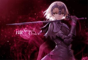 Rating: Safe Score: 85 Tags: armor bangosu blonde_hair chain dark fate/grand_order fate_(series) gloves headdress jeanne_d'arc_alter jeanne_d'arc_(fate) logo short_hair sword weapon yellow_eyes User: RyuZU