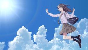 Rating: Safe Score: 70 Tags: aiko_(aiko_54) brown_hair clouds green_eyes kneehighs long_hair original school_uniform sky tie User: RyuZU