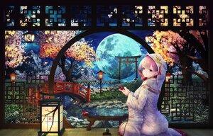Rating: Safe Score: 86 Tags: asa-ai cherry_blossoms clouds drink flowers japanese_clothes kimono moon original pink_hair purple_eyes sake sky tears torii tree water wedding_attire User: BattlequeenYume