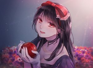 Rating: Safe Score: 21 Tags: apple black_hair bow choker crying food fruit gloves gradient long_hair necklace original red_eyes sumisumi tears User: RyuZU