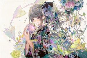 Rating: Safe Score: 44 Tags: flowers gray_eyes gray_hair headdress japanese_clothes kimono long_hair original ribbons tsukioka_tsukiho water white User: luckyluna
