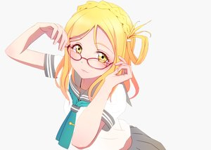 Rating: Safe Score: 33 Tags: blonde_hair braids close glasses long_hair love_live!_school_idol_project love_live!_sunshine!! mocha ohara_mari photoshop seifuku white yellow_eyes User: luckyluna
