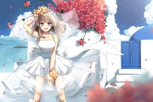 Rating: Safe Score: 108 Tags: blue_eyes breasts brown_hair ceru cleavage clouds flowers long_hair original petals skirt wedding_attire wristwear User: Flandre93