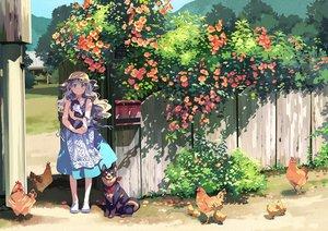 Rating: Safe Score: 81 Tags: animal apron bf._(sogogiching) bird blonde_hair blue_eyes cat dog dress flowers hat long_hair original scenic shade summer summer_dress User: otaku_emmy
