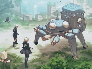 Rating: Safe Score: 36 Tags: blindfold boots crossover dress elbow_gloves ghost_in_the_shell gloves headband kneehighs komakuchi_mame male music nier nier:_automata pod_(nier:_automata) robot short_hair shorts signed tachikoma thighhighs white_hair yorha_unit_no._2_type_b yorha_unit_no._9_type_s User: otaku_emmy