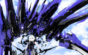 Rating: Safe Score: 57 Tags: mecha short_hair sky sword tone_g weapon white_hair User: Katsumi