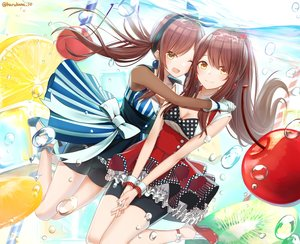 Rating: Safe Score: 9 Tags: 2girls bow brown_hair bubbles cherry dress food fruit gloves harukana_(harukana_10) idolmaster_shiny_colors long_hair oosaki_amana oosaki_tenka shorts underwater water watermark wink yellow_eyes User: BattlequeenYume