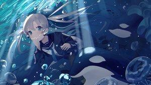 Rating: Safe Score: 65 Tags: blue_eyes bubbles gray_hair idemitsu long_hair original school_uniform skirt twintails underwater water User: BattlequeenYume