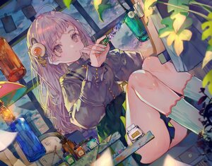 Rating: Safe Score: 53 Tags: cha_goma clouds kneehighs leaves long_hair original purple_eyes purple_hair shirt skirt sky socks User: otaku_emmy