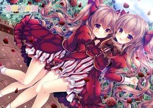 Rating: Safe Score: 59 Tags: 2girls blush bow brown_eyes brown_hair dress flowers logo long_hair mizuki_yuuma petals rose scan twintails User: RyuZU