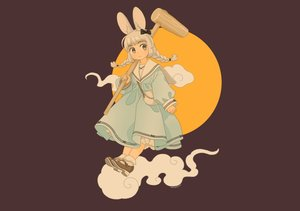 Rating: Safe Score: 20 Tags: akai_sashimi animal_ears blush braids brown bunny_ears bunnygirl clouds dress gray_eyes gray_hair loli lolita_fashion moon original school_uniform signed socks third-party_edit twintails User: otaku_emmy