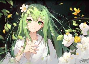 Rating: Safe Score: 80 Tags: all_male blush enkidu fate/grand_order fate_(series) flowers green_eyes green_hair long_hair male petals shirt xianyujun_sam User: Maboroshi