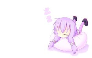 Rating: Safe Score: 78 Tags: cat_smile chibi miiya_(kuroi_hako) purple_hair sleeping thighhighs vocaloid voiceroid white yuzuki_yukari User: SciFi