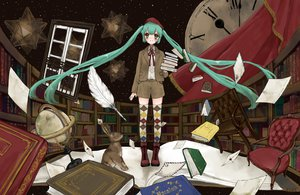 Rating: Safe Score: 55 Tags: book boots green_eyes green_hair hat hatsune_miku long_hair mnmktn twintails vocaloid User: PAIIS