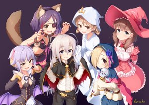 Rating: Safe Score: 44 Tags: animal_ears blonde_hair brown_eyes brown_hair cape cat_smile collar corset cosplay eyepatch fang gray_eyes gray_hair group halloween hat hayasaka_mirei headband hoodie horns hoshi_shouko idolmaster idolmaster_cinderella_girls koshimizu_sachiko lolita_fashion long_hair morikubo_nono purple_hair sakuma_mayu shirasaka_koume short_hair signed skirt tagme_(artist) tail thighhighs vampire wand wings witch_hat wolfgirl wristwear User: luckyluna