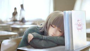 Rating: Safe Score: 133 Tags: blonde_hair book dangan-ronpa_2 gloves nanami_chiaki nyarko school_uniform sleeping User: Wiresetc