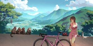 Rating: Safe Score: 36 Tags: animal bicycle bike_shorts brown_eyes brown_hair food original ponytail scenic shorts skintight sky tienao User: gnarf1975