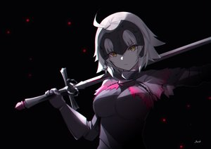 Rating: Safe Score: 94 Tags: bee_doushi black dark fate/grand_order fate_(series) gloves jeanne_d'arc_alter jeanne_d'arc_(fate) signed sword weapon white_hair yellow_eyes User: BattlequeenYume